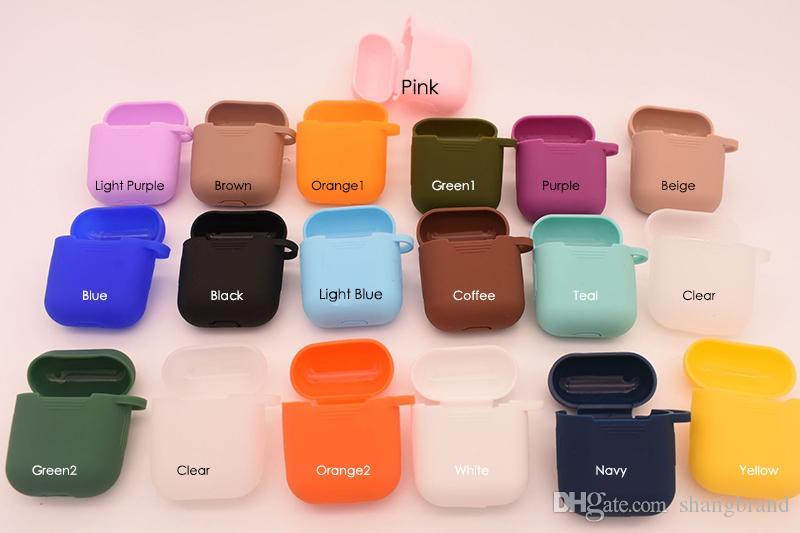 18 цветов Наушники Protector с Карабин Силиконовые наушники чехол для Apple, Airpods кожи Sleeve Чехол Box Protector