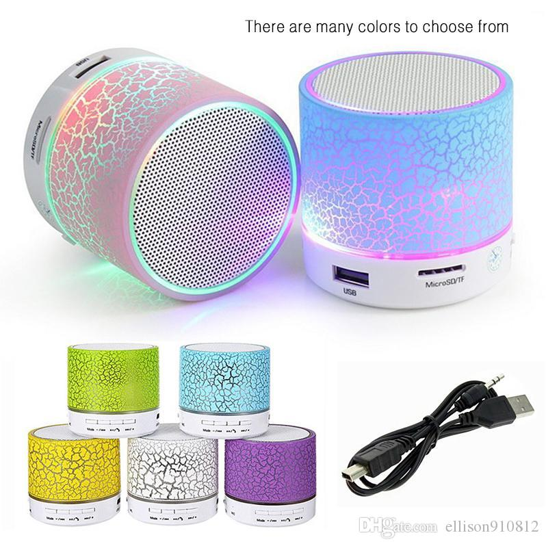 100pcs A9 Bluetooth Speaker Mini Wireless Loudspeaker Crack LED USB Subwoofer Speaker Led Bluetooth Mp3 Stereo Audio Music Player DHL Free