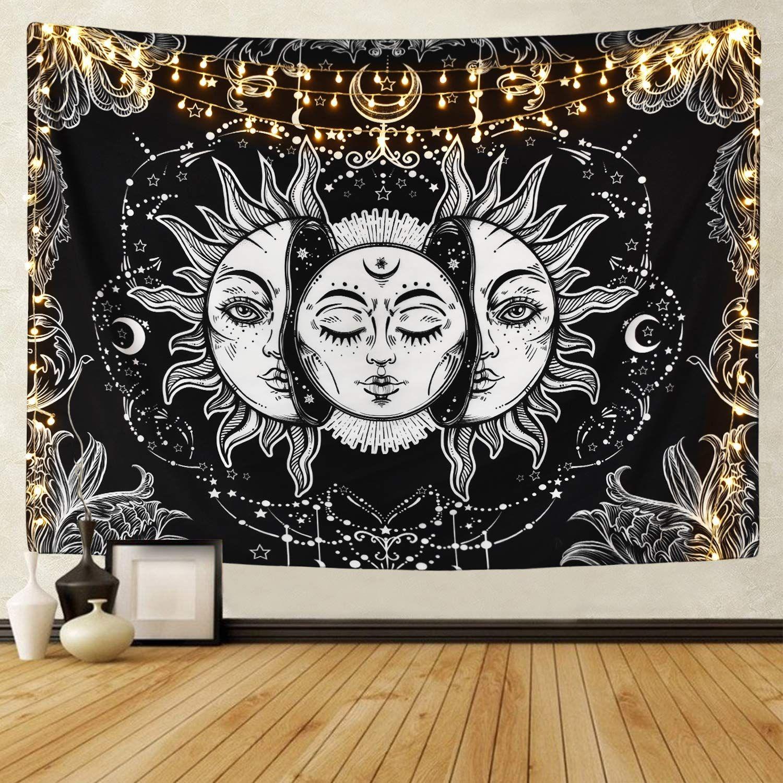 150 * 200 cm In bianco e nero appeso ad arazzo arazzo Appeso a parete Arazzo decorativo Appeso copriletto a muro Ethnic Throw Towel Beach Meditation