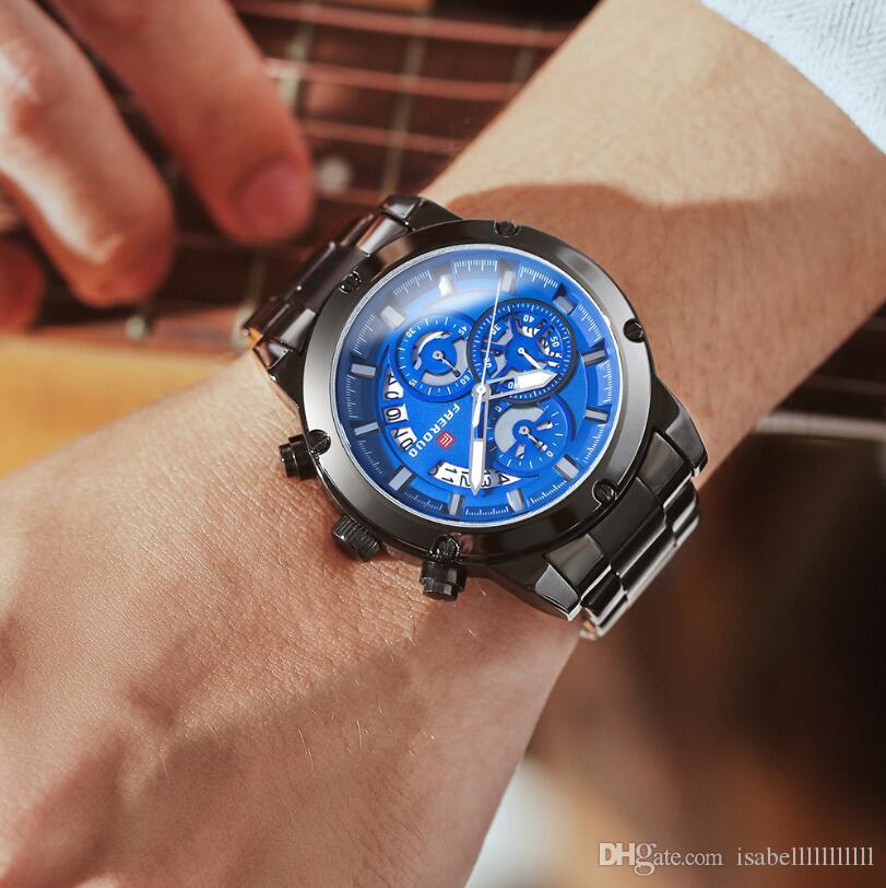 명품 남자 시계 8269 프로 다이버 컬렉션 아날로그 중국어 석영 Chronograh 실버 톤 / 블루 / 블랙 / 그레이 합금 시계