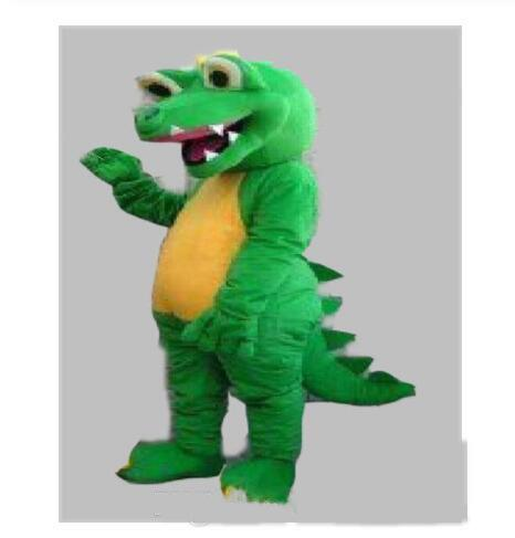 Wholesale-2019 High quality hot GREEN DINOSAUR DRAGON MASCOT COSTUME ADULT SIZE CARTOON