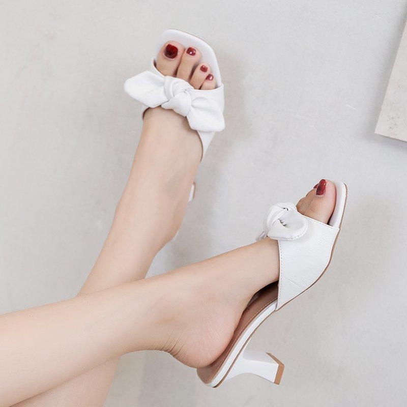 Конфеты цвета высокой пятки лук тапочки женщин сандалии лето Толстый каблук Сандалии Женщины Открытый Pu кожа Open Toe тапочки 2020