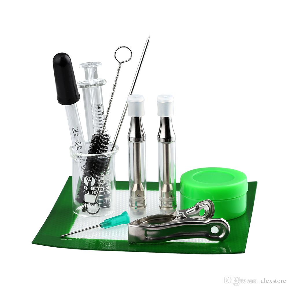 Original LTQ Terp Done Tool Kit With Syringe Beaker Dropper Muddler Brush Silicone Mat Container Beaker Clamp Dropper 2 Cartridges Tank DHL