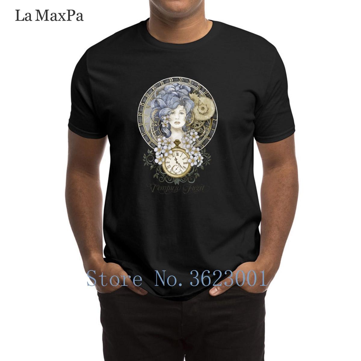 Tempus Fugit maglietta creativa Vintage T-shirt per Uomo Slim Fit Abbigliamento Tee Shirt Super O-Collo maglietta per i Mens superiore