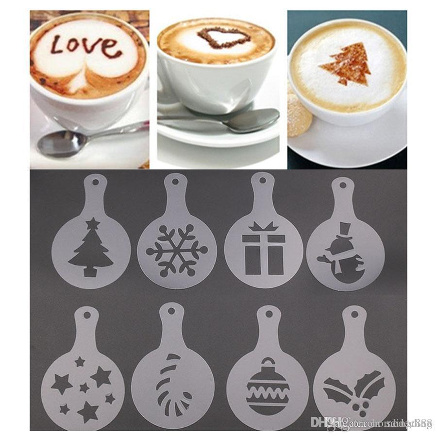 8pcs / set Cafe-Schaum-Spray Vorlage Barista Stencils Fancy Mold Weihnachtskaffeedesign Drucken-Blumen-Modell aus Kunststoff DH0577-2