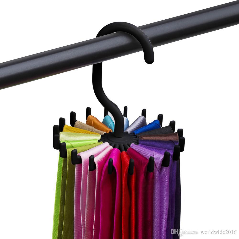 360 Degree Rotating Plastic Portable Tie Rack For Closets Rotating Ties Hook Holder Belt Scarves Hanger For Men Women Clothing Organizer