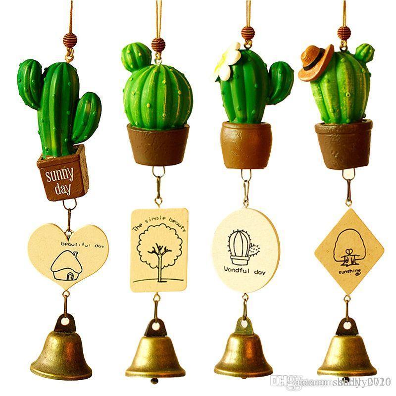 Mini simulazione resina Pianta grassa Cactus Wind Chimes Decor statuette in miniatura Bonsai vento campana decorazioni creative da regalo