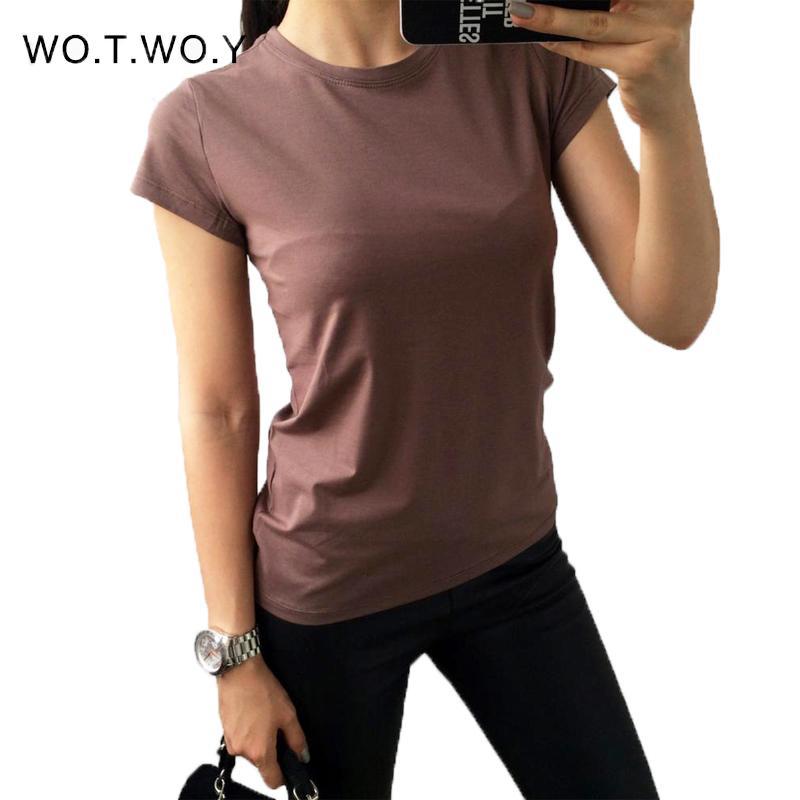 2020 الصيف أزياء عادي T قميص المرأة القطن مطاطا الأساسية T-Shirts أعلى قصيرة الأكمام