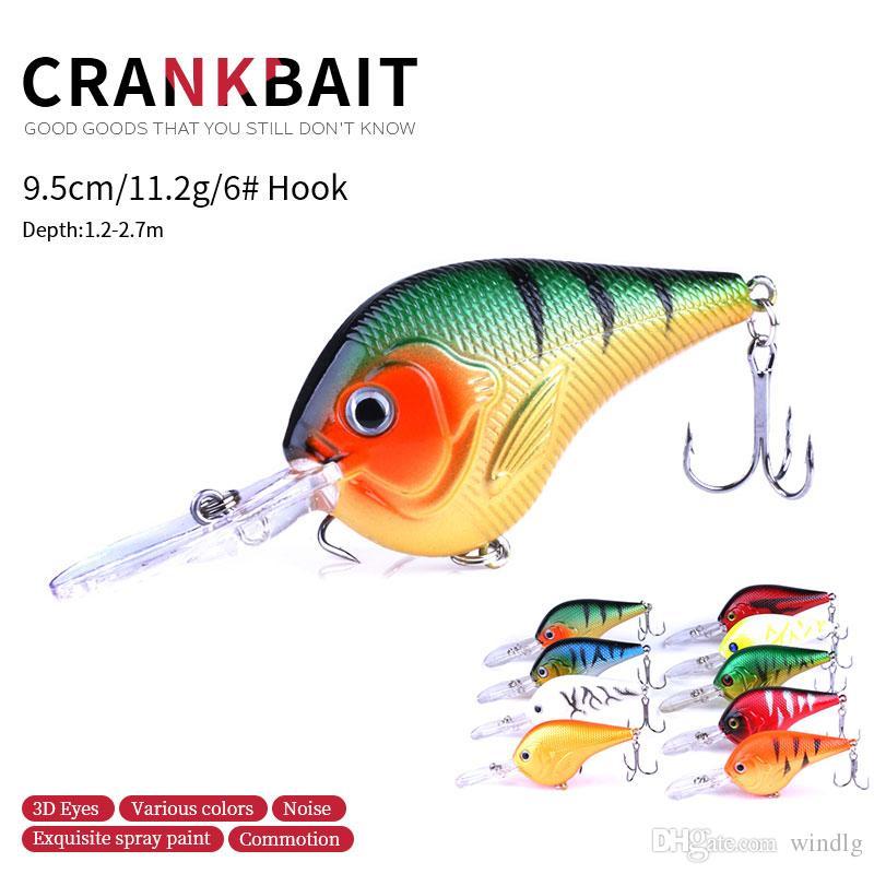 Hengjia 9PCS Рыбацкая приманка Crankbaits House Bass Crank Bait 9,5 см 11,2 г 6 # Крючки 95 мм Жесткие приманки Минжена Карп Рыба схватывает CB024