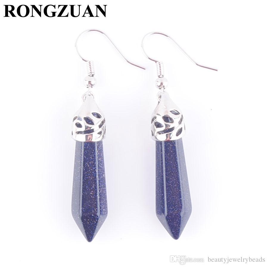 NaturalStone Blue Sand Dangle Earrings HexagonalPointed Reiki Chakra Pendant Beads Drop Earring Girls Women Party Wedding Jewelry DR3059