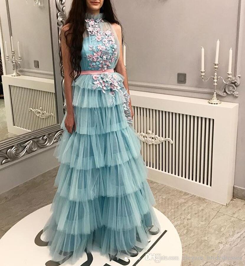 Chic bleu glace une ligne robes de bal haut du cou volants jupe à plusieurs niveaux 3D fleur arabe Dubai soirée robe de soirée longue robe de cocktail