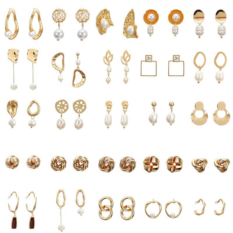F36 Zarif Mat Metal Altın Kare Kalp Üçgen Geometrik Düzensiz Doğal İmitasyon İnci Damla Küpe İçin Kadınlar Kız