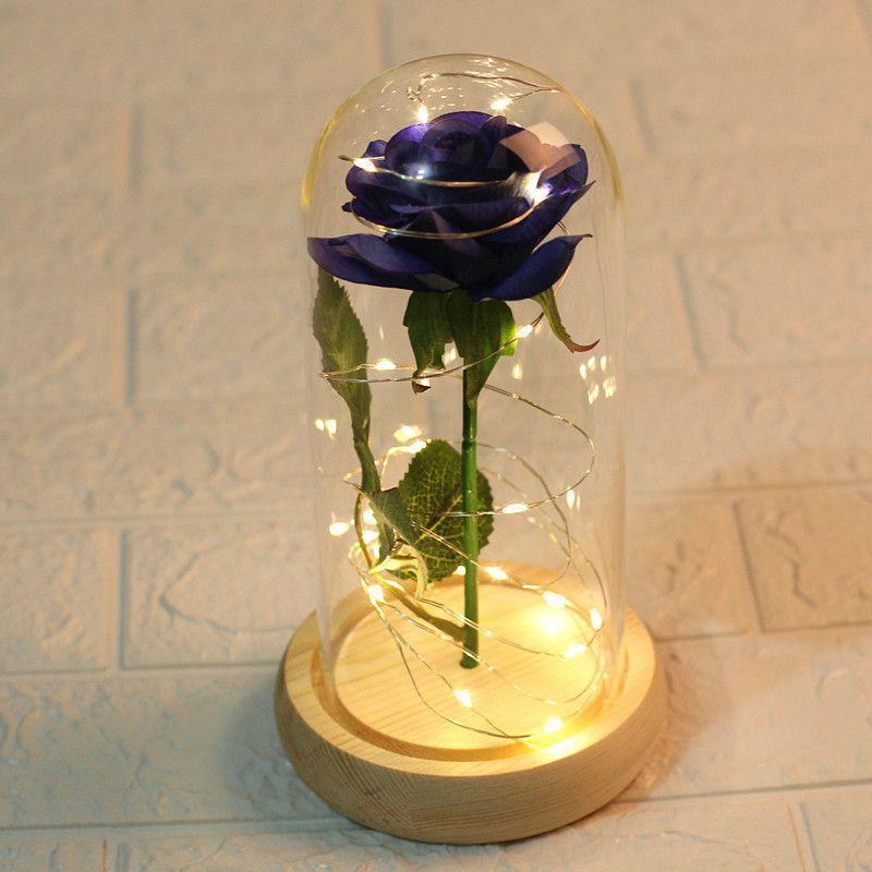 Rose Flower et lumières à DEL en verre dôme sur la base en bois le meilleur pour les femmes cadeau (batterie non incluse)