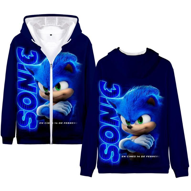 Winter Herren Jacken und Mäntel Sonic The Hedgehog 3D Hoodie Fleece Zipper Hoodies Outwear warme Mantel Kawaii Kleidung