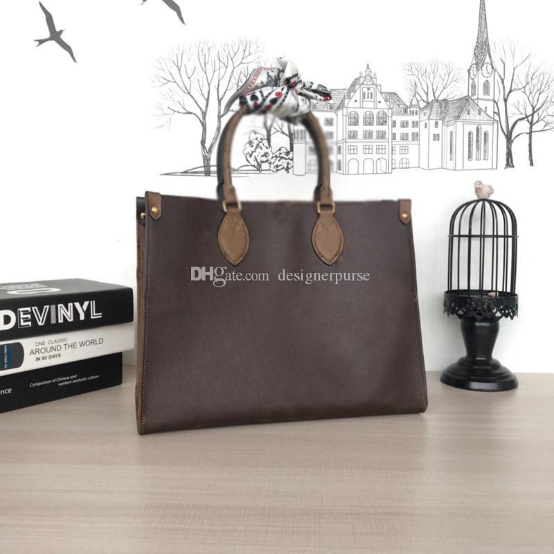 디자이너 핸드백 Onthego 핸드백 여성 어깨 가방 고품질 쇼핑백 패션 대형 양면 가방 34cm 42cm