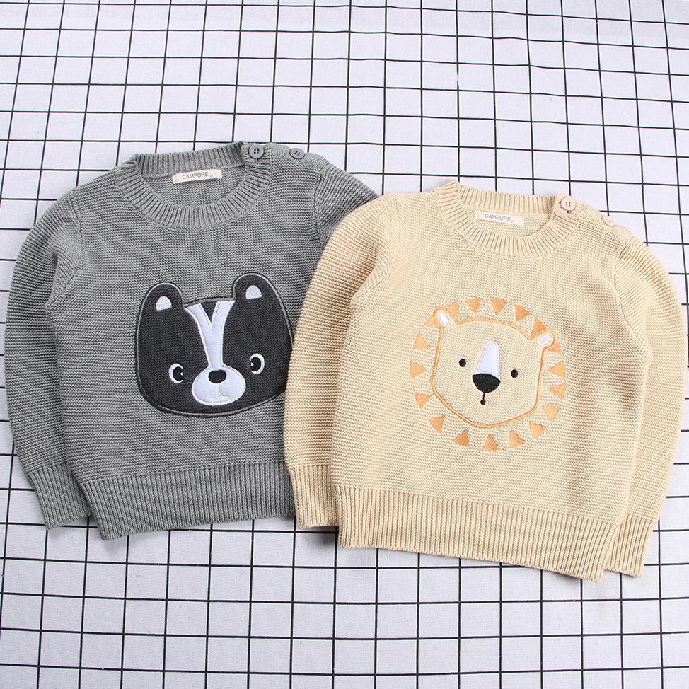 Erkekler Kızlar Triko Bebek Kazak Çocuk Nakış Karikatür Pamuk Triko Oluklu Bebek Giyim 1-6T bebek kazak Tops