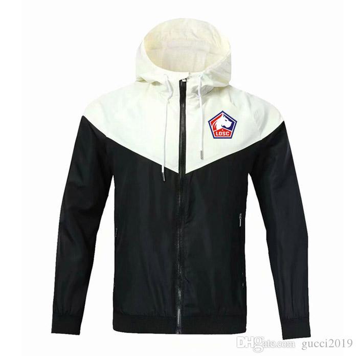 20/21 Lille Losc Futbol Fermuar Rüzgarlık Uzun Kollu Ceket Ceket Kış Sporları Futbol Rüzgarlık Hoodie Ceket Spor Erkek Ceketler
