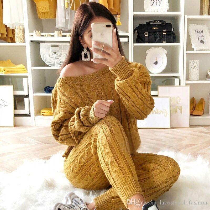 Tasarımcı Kadınlar Kazak Mürettebat Yaka Uzun Kollu Bahar Bayanlar Örme Suits Casual Kadın İki Adet Setleri