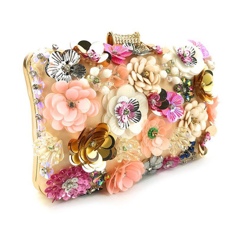 Designer-Frauen-Kupplungs-bunte Blumen-String Perlen Handtasche Elegante Partei-Umhängetasche