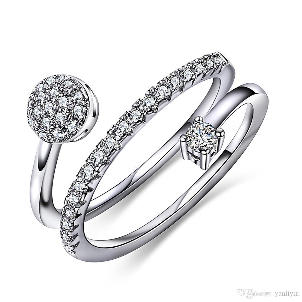Elegante anel de design de 2 rolos em tamanho 5/6/7/8/9/10 para as mulheres Na moda OL jóias zircão cúbico branco Aneis Anillos Anel c