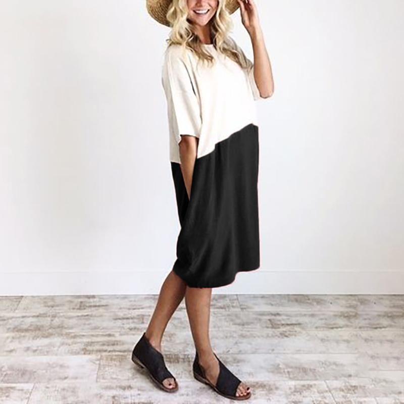 abito di lino Loose Women rappezzatura del cotone mezza manica Button vestito casual Splice Pocket Office bianco breve Abiti vestido #jsw