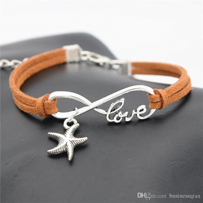 Hot Sale Designer Hand-Knitted Brown Leather Rope Infinity Love Sea Star Starfish Bracelet Bangles New Fashion Women Men Alloy Charm Jewelry