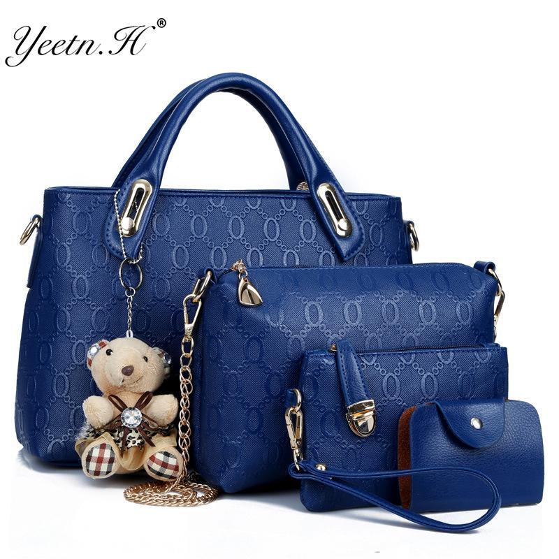 Yeetn.H Frauen 4 Set-Handtaschen PU-Leder-Modedesigner Handtasche Schultertasche schwarz Vintage Female Messenger Bag Sac A Haupt M129 Y191023