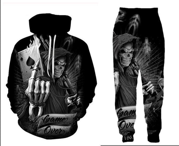Neue Männer / Frauen Poker Schädel Lustige 3D-Druck-Art- Tracksuits Crewneck Hip Hop-Sweatshirts und Hosen 2 PC stellten Hoodies TZ014