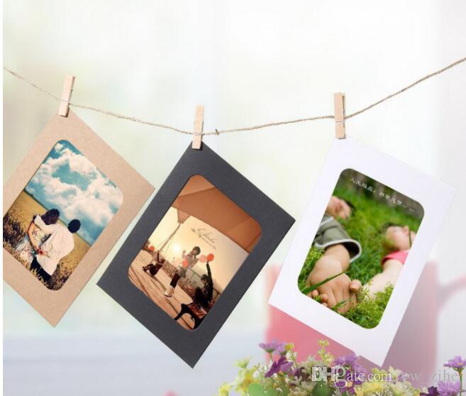 10 قطع DIY كرافت ورقة إطار الصورة 5 بوصة معلقة الجدار صور إطار الصورة كرافت ورقة مع مقاطع وحبل sui0191