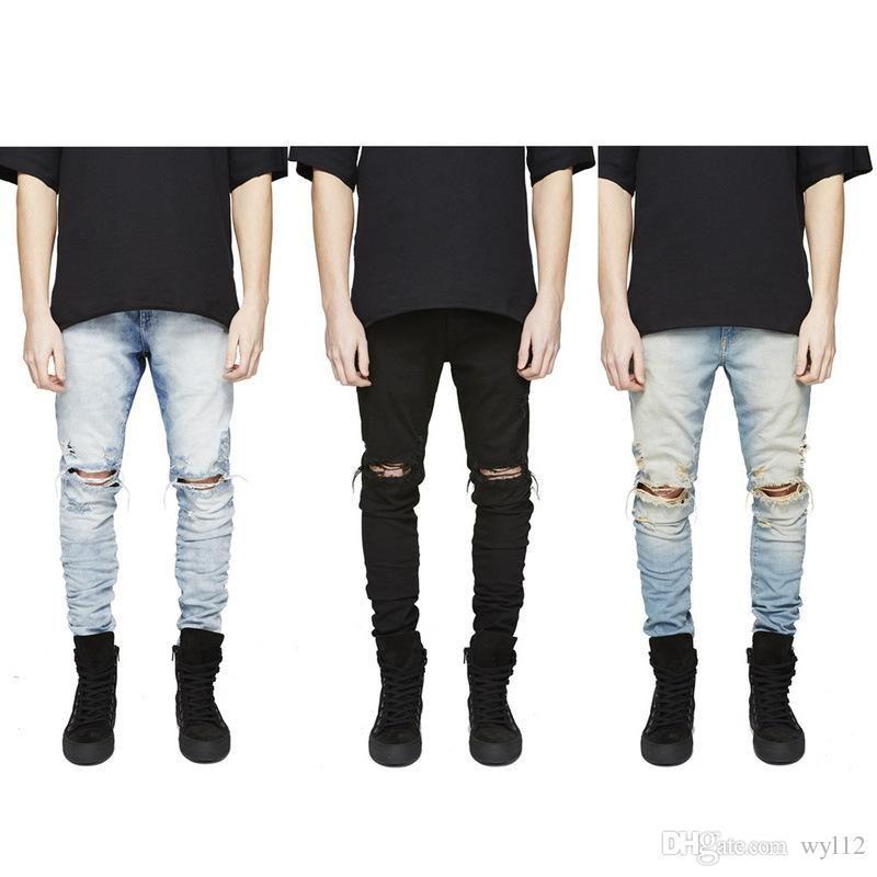 Moda Mens Hetero Slim Fit motociclista Calças Jeans afligido Skinny rasgada Destruído Denim Jeans Lavado Hiphop calças pretas
