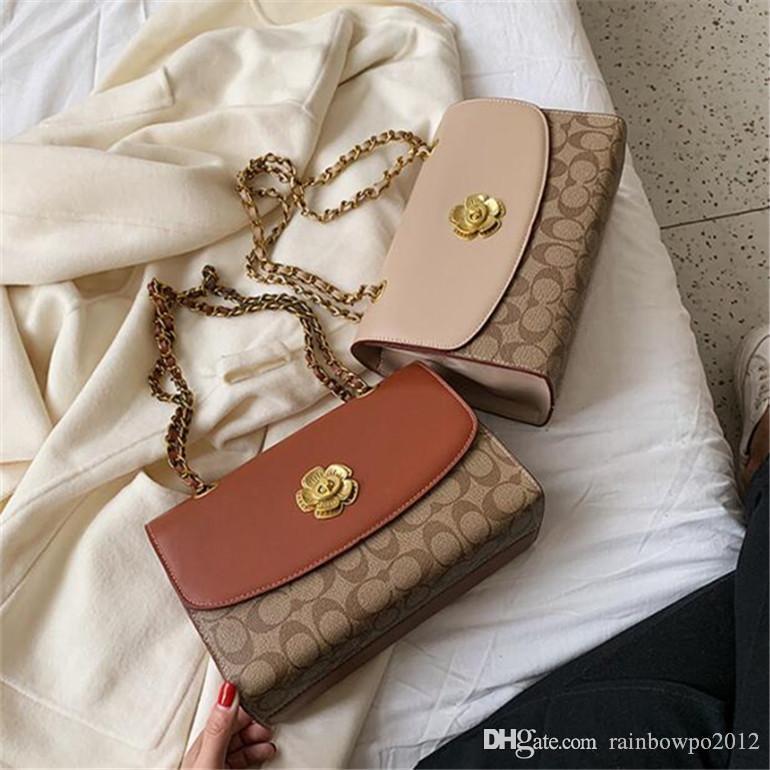 women handbag new flower lock women shoulder bag high quality color contrast leather fashion bag elegant atmosphere white match women bag