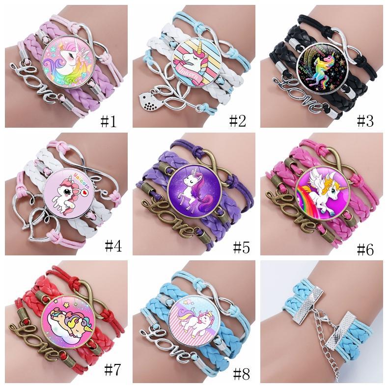 Menina Unicorn pulseira de multicamadas do arco-íris do cavalo do tempo Gems Moda Braceletes Charms cadeia de couro cabo de Bangle crianças Jóias Acessórios