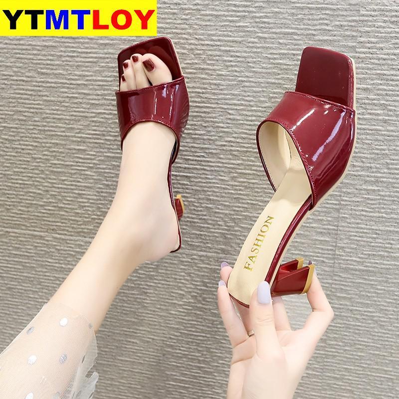 HEISSE Art und Weise Mehrfarben öffnen Zehe-Knöchel-Bügel-Frauen-Sandelholz-reizvolle Absatz-Dame Schuhe Schnalle 6,5 cm niedrige Ferse-Sommer-Sandelholz