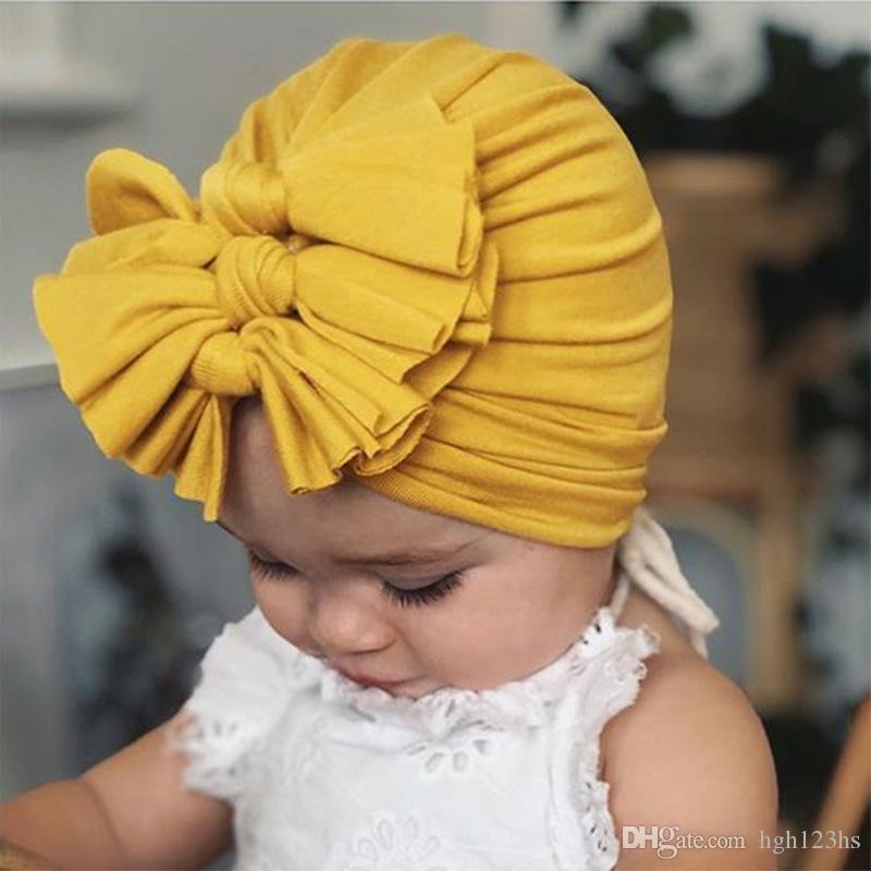Baby Pleated Three Bowknot Cotton Turban Hat Kids India Beanie Cap Headband #A