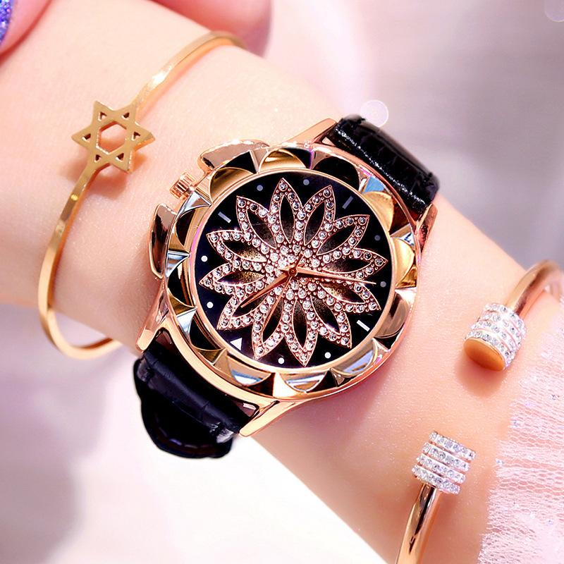 5pcs / Lot femme strass Quartz Montres Montre Femme en cuir grand cadran en cristal Diamond Flower Clock Fashion Bracelet montre-bracelet