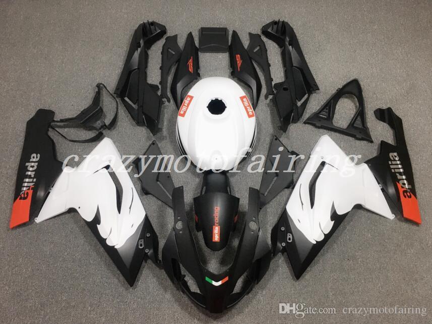 4Gifts nuevo ABS de moldes de inyección de carenados de motos kits 100% en forma para el Aprilia RS125 06 07 08 09 10 11 2006-2011 carrocería conjunto blanco Negro