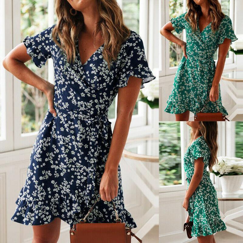 Frauen Sommer Boho Kurzes Minikleid Abendgesellschaft Strandkleider Sommerkleid Beiläufige Kurzarm Print Holiday Dress