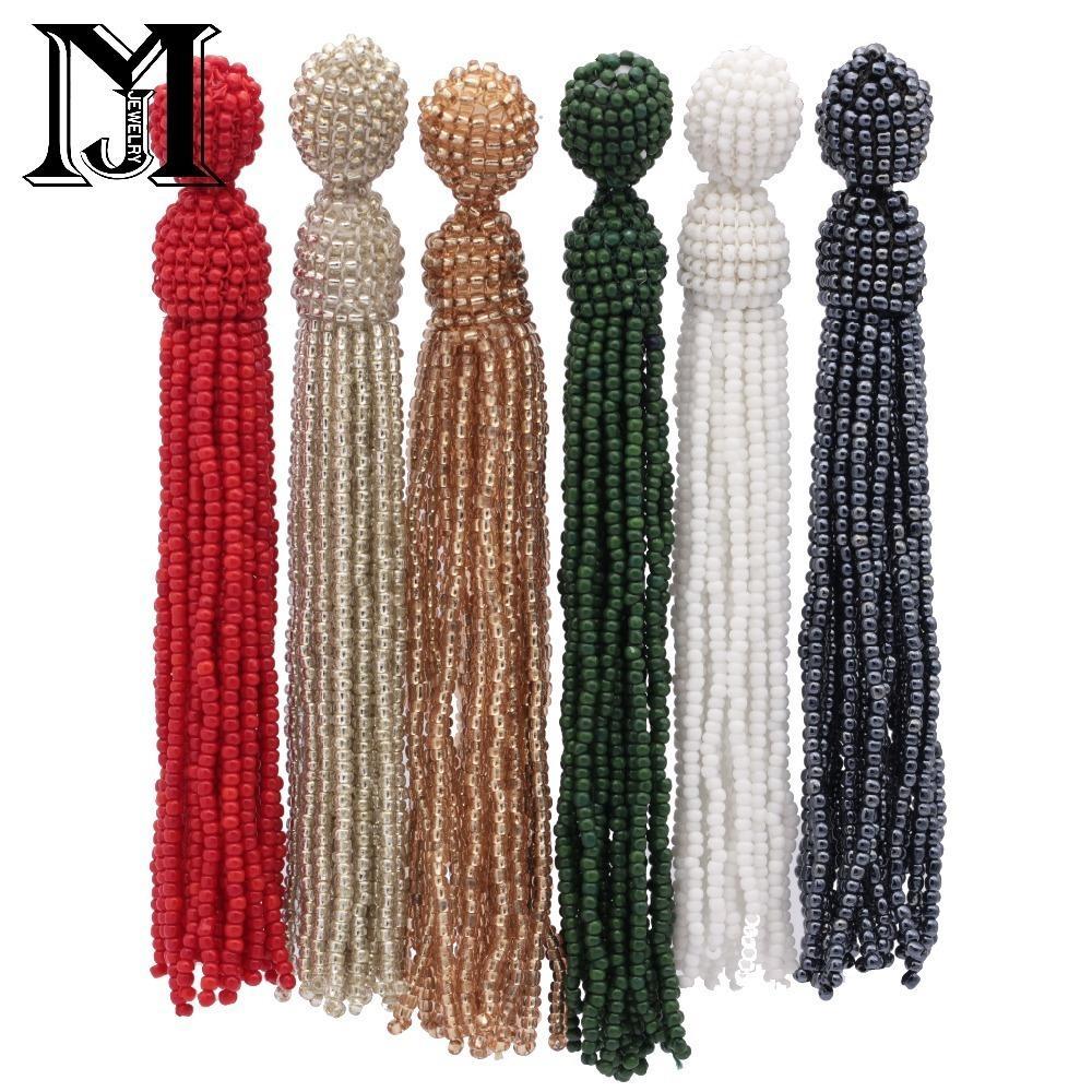 Jiamu orecchini di nappa con perline bianchi rossi neri orecchini pendenti con perline da donna con orecchini pendenti vintage da damigella d'onore Dorp T190626