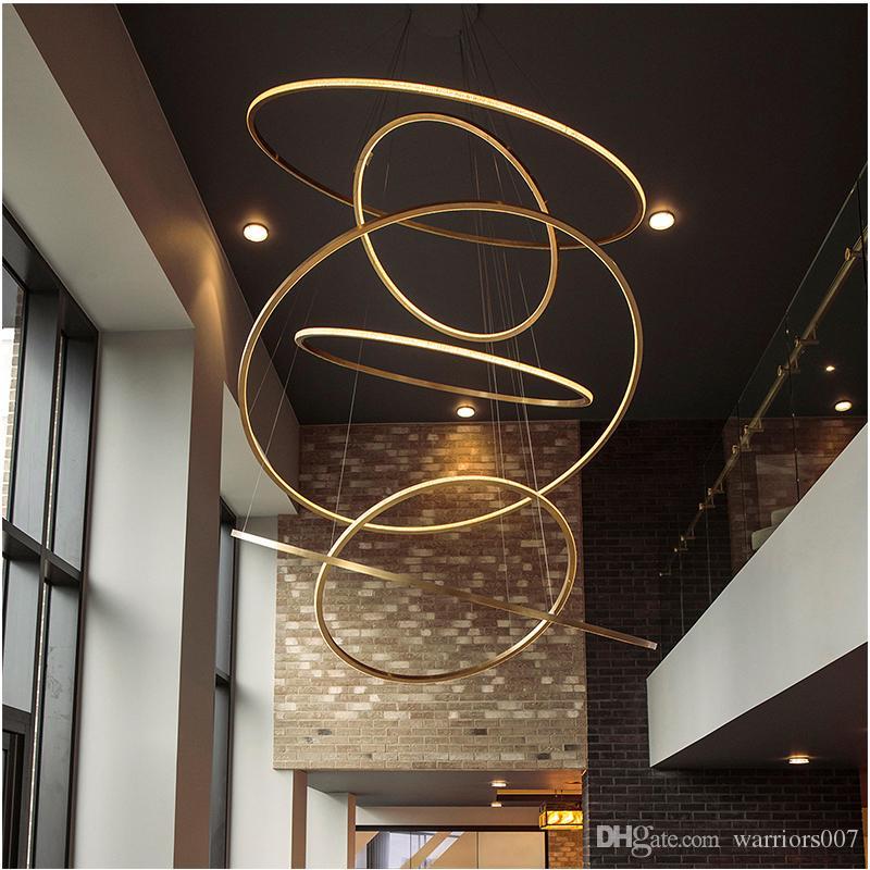 الفاخرة الفولاذ المقاوم للصدأ الثريا الإضاءة على قاعة مصمم الحد الأدنى الثريا للحصول على فيلا درج جولة دائرة الضوء الشنق