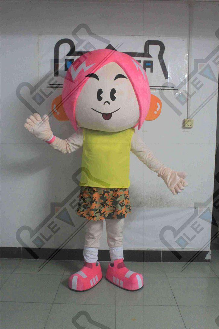 rosa Haare Mädchen Maskottchenkostüme Tänzer Gehen Schauspieler Lächeln Gesicht Kind Partei Kostüme POLE STAR MASCOT COSTUME