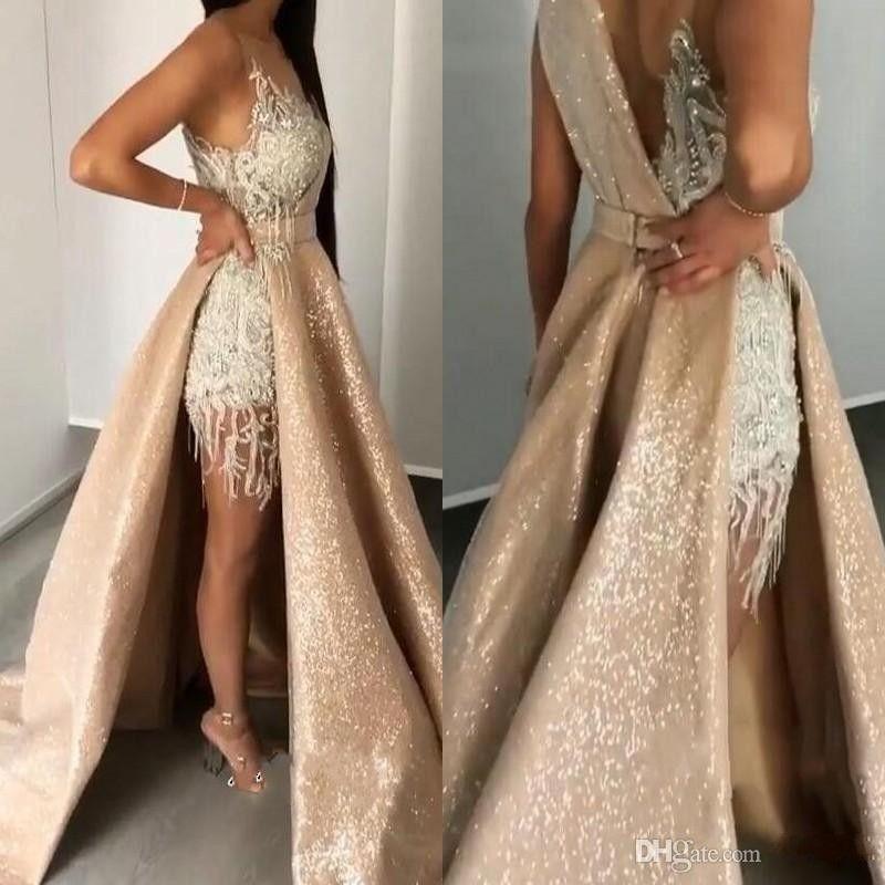 2019 Shinning Sexy paillettes Prom Dresses con collo a strati Appliques Perline Cristalli Celebrity Party Abito da cocktail con fascia Sexy abiti da sera