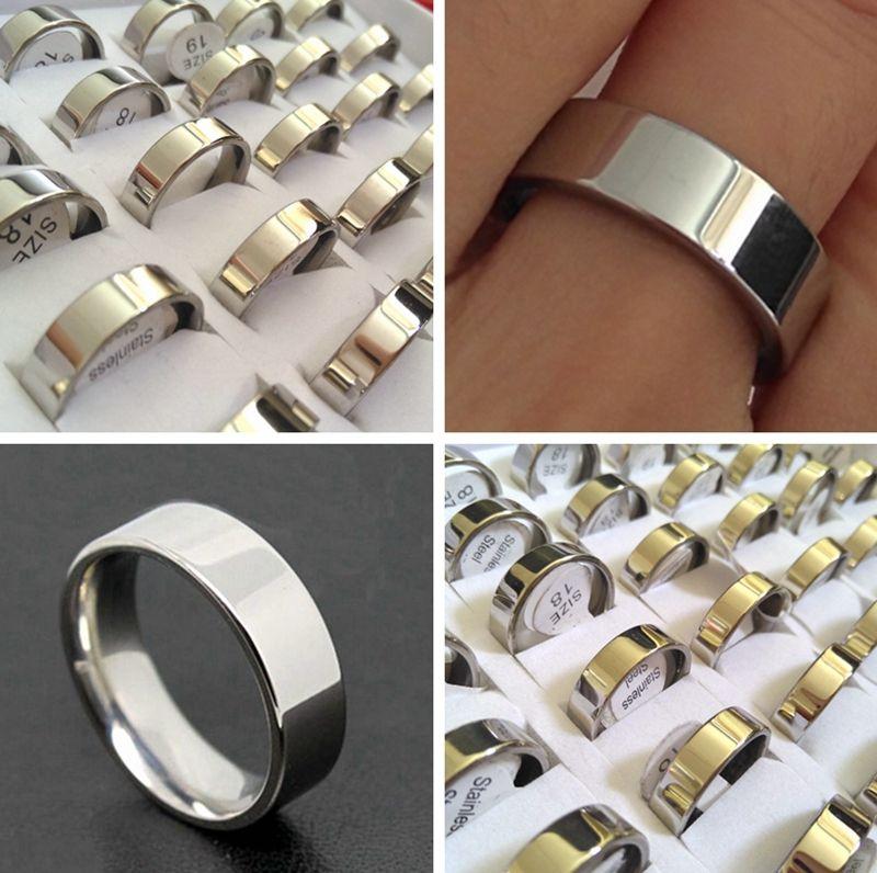 50шт Широкий 6мм серебро кольцо диапазона комфорта посадки качества Обручальное кольцо из нержавеющей стали 316L Свадебные Мужчины Женщины Элегантный классический палец кольцо Hot