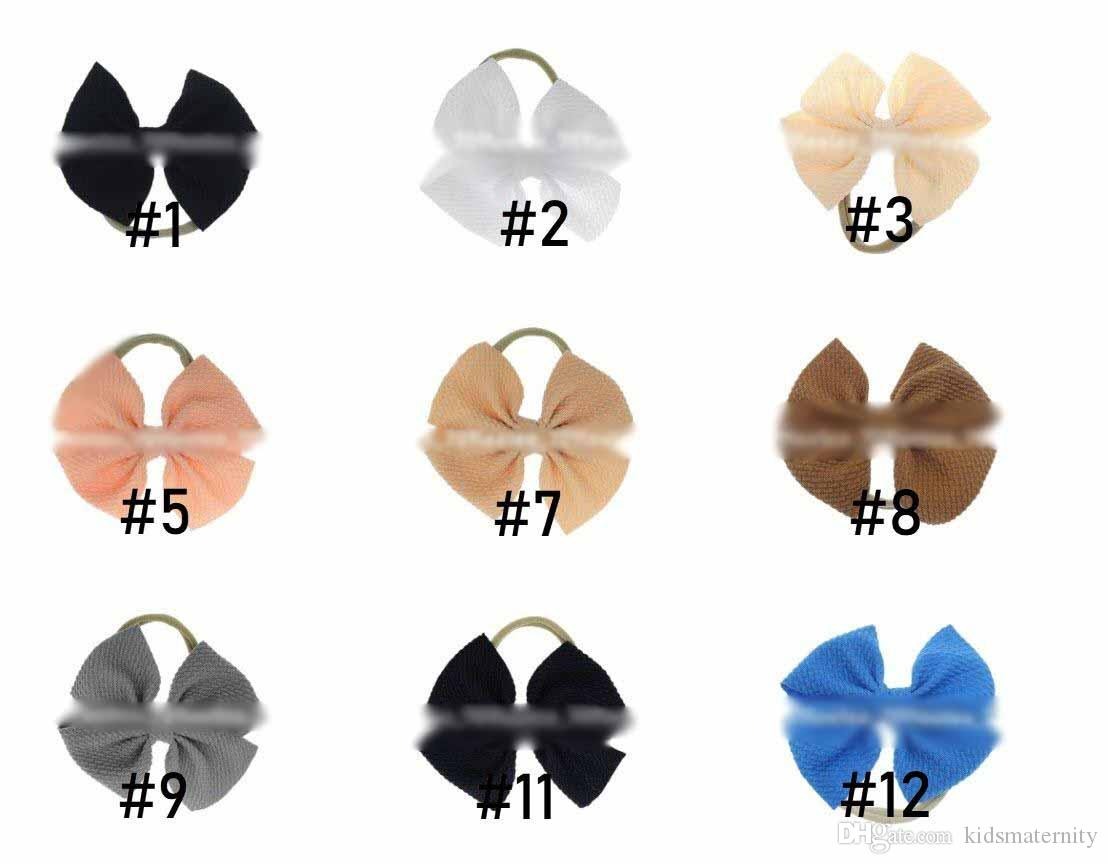 Baby Girls Bow Headband 30 colors Turban Solid color Elasticity Hair Accessories fashion Kids Hair Bow Boutique bow-knot Hair Band