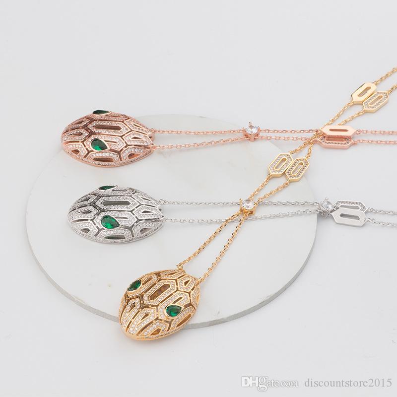 Neu Kommen Mode Dame Messing Serpenti 18 Karat Vergoldete Halsketten Mit Voller Diamant aushöhlen Schlangenkopf Anhänger 3 Farbe