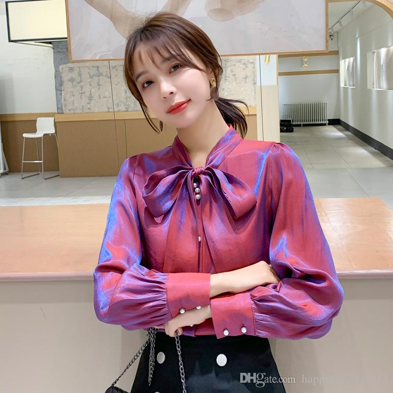 New Runway Chiffon Bow Designer Shirts Women Fashion Long Sleeve Lapel Neck Plus Size Ladies Shirt Blouses Elegant Office Button Shirts Tops