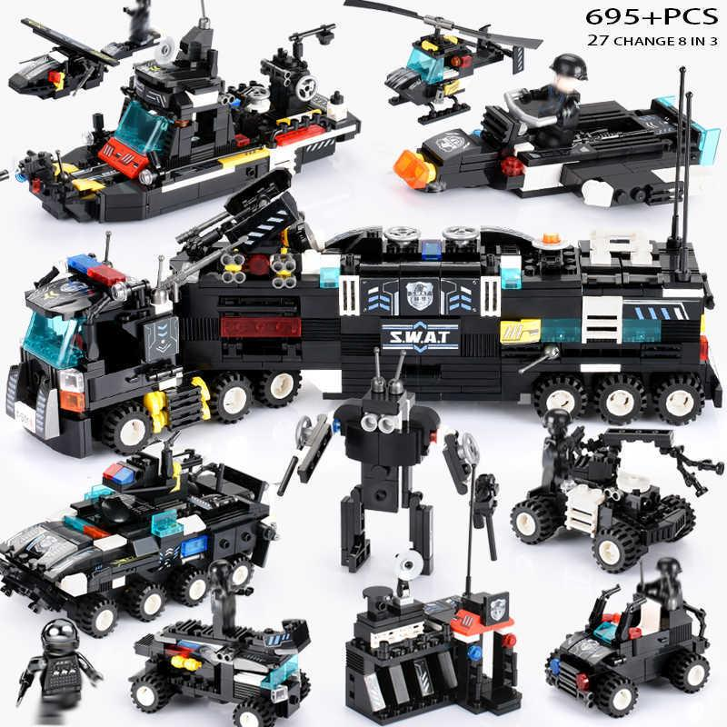 695PCS LegoINGs SWAT City Police Truck Building Blocks Sets Ship Helicopter Vehicle Creator Bricks Playmobiled Toys for Children