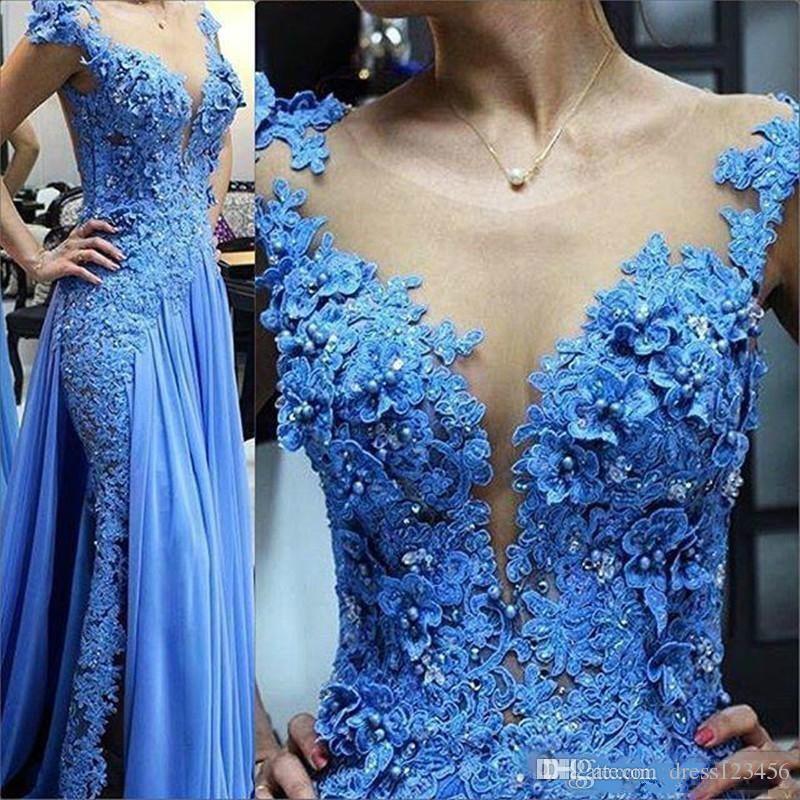 Falda Apliques azules Perlas Tallas grandes Vestido de lentejuelas Vestido de noche Gorra de manga Puro Joya Cuello de baile Vestido largo Lon Zuhair Murad Vestidos de noche baile
