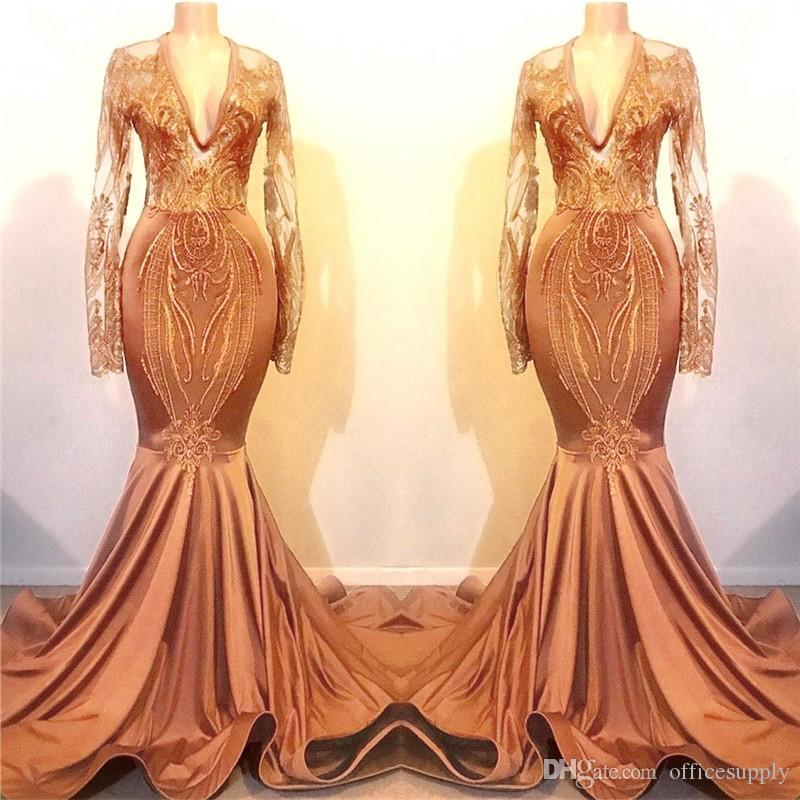 Orange Prom Dresses 2020 New Mermaid Long Sleeves Vintage Applique Sequin Long Evening Gowns Formal Custom