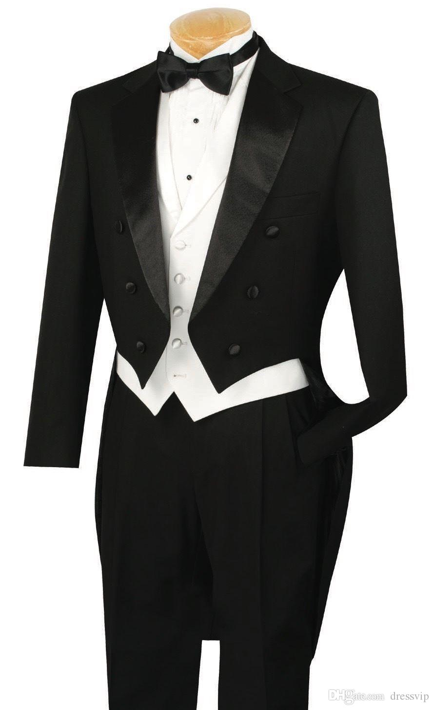 Fit Slim 3Pcs Black Lapel Groom Mens Suits With Tail Coat Formal Party Custom Made Top Quality Wedding Tuxedos