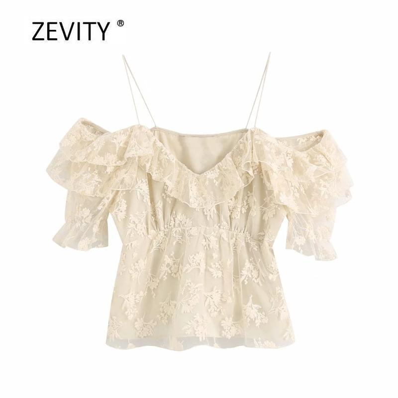 Zevity kadın moda çiçek nakış gündelik bluz bayanlar şık basamaklı farbalı sapan gömlek pile feniminas örgü LS6816 başında